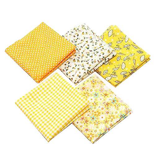 5pcs Tela Patchwork Algodon Ropa de Manualidades Costura Quilting Bundle Plaza 50x50cm (Amarillo)