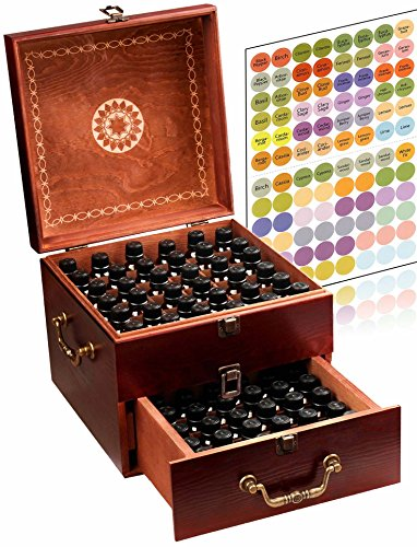 Beautiful 2 Tier Essential Oil Storage Box Organizer with 2 Carry...