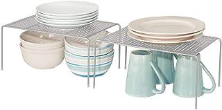 mDesign étagère Cuisine Pratique (Lot de 2) – Rangement Cuisine autoportant en métal – Petit Range Vaisselle de Cuisine po...