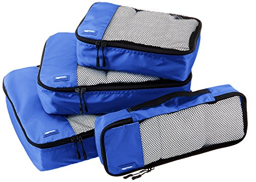 Amazon Basics Kleidertaschen-Set, 4-teilig, je 1 kleine, mittelgroße, große und schmale Packtasche, Blau