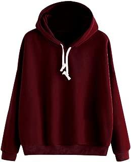 AMSKY Women Teen Girls Pullover Hoodie, Long Sleeve Solid Sweatshirt Causal Junior Hooded Basic Top Blouse