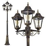 Lampione da Giardino Alluminio Pressofuso Color Bronzo Modello Hong-Kong- Illuminazione da Esterno Stile Classico Paralumi Vetro Satinato- Lampione 3-Luci Ideale per Vialetto Ingresso