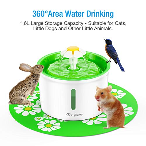 isYoung Cat Fountain 1.6L Automatic Pet Water Fountain Pet Water Dispenser, Dog/Cat Health Caring Fountain and Hygienic Dog Fountain