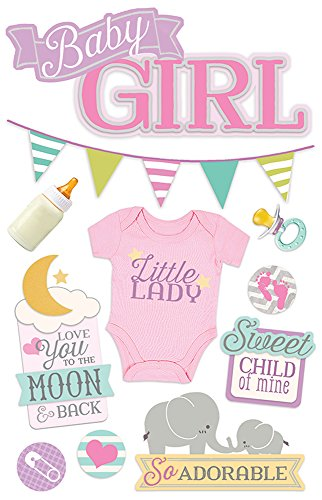 Paper House Productions STDM-0263E 3D Stickers, Baby Girl (3-Pack)