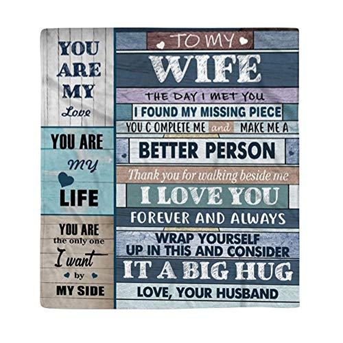 To My Wife Blanket, Hawkoch You Are My Life Reversible Franela cálida Manta To My Wife Letter Manta de Cama para sofá Cama Regalo de San Valentín (L)