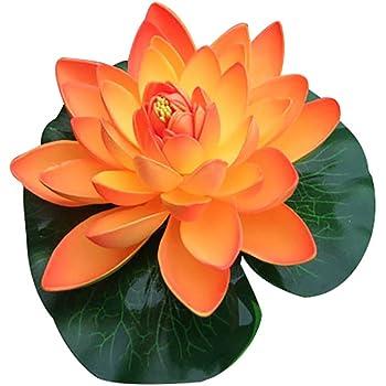 Artificial Plastic Fake Lotus Leaf Flowers Water Lily Floating Plants Pool V4K1