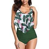 Mujer Conjunto Bikini Braga Alta De Frill Talla Grande Sexy Traje De Baño con Volantes Flores Verde S