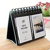 Jun Fotoalbum für Polaroids, Schreibtisch-Ständer / Kalender für Fujifilm Instax Polaroid-Fotos, 7,6cm, 68 Einstecklaschen blau