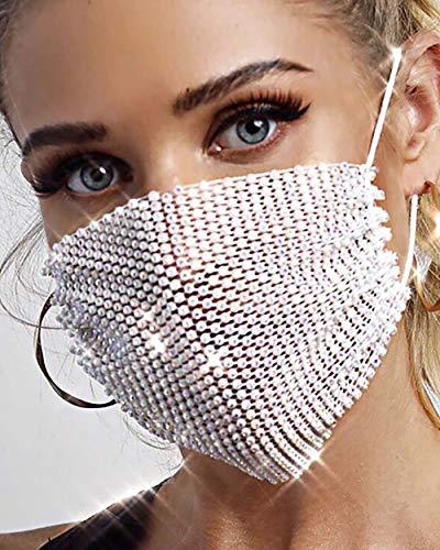 Simsly - Máscaras de malla de diamantes de imitación reutilizables para Halloween o club nocturno, diseño de malla, joyería para mujeres y niñas
