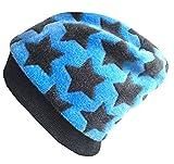 Wollhuhn Warme kuschelige Beanie-Mütze Fluffy blau mit dunkelgrauen Sternen, Wellnessfleece, für Jungen und Mädchen, 20161123, Größe XS: KU 42/46 (ca 6 Mon. bis 2 Jahre)