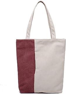 Howoo Damen Segeltuch Mode Tote Kleidersack Beiläufig Schultertasche Handtasche Weinrot