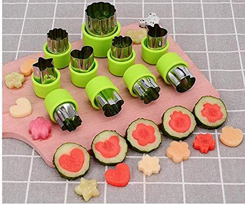 Nicoone Juego de 9 cortadores de verduras con forma de frutas, cortador de galletas decorativo para verduras, frutas, pasteles, pudín, rollo de arroz, pastelería, verde