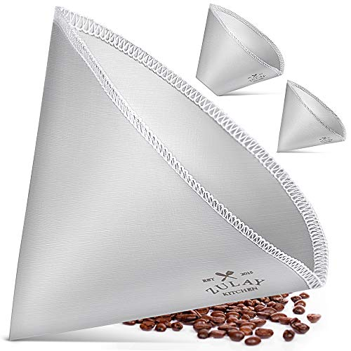 Zulay Reusable Pour Over Coffee Filter - Flexible Stainless Steel Mesh Coffee Filter Reusable - Permanent Paperless Metal Coffee Filter Cone for Hario, Chemex, Ovalware, and Other Carafes (1-2 Cup)