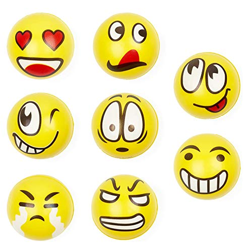 THE TWIDDLERS 24 Pièces Jouets de Balle Anti-Stress Emoji pour Enfants & Adultes - Squishy Smiley Balle - Anniversaires, Pinata, Pochettes Surprise, Sacs-Cadeaux.