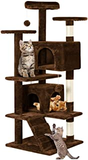 Topeakmart 51 inches Multi-Level Cat Tree Condo with Scratching Posts Kitty Activity Tower Pet Play House for Cats & Kittens