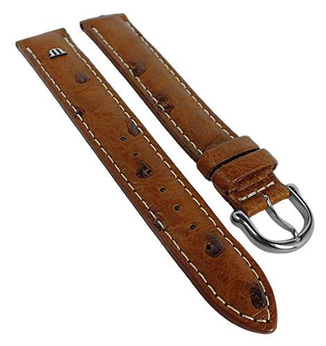 Maurice Lacroix Correa de repuesto XL para reloj de pulsera, piel de avestruz, marrón 30554, ancho del puente: 19 mm, cierre: plateado