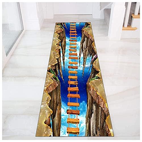 Entry tapijten keuken polyester gang tapijt wasbaar voor gang, slaapkamer keuken trappen passage antislip 3D runner tapijt,Brown,120x250cm