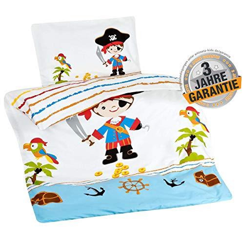 Aminata Kids Bettwäsche 100x135 Pirat Junge Kinder Piraten-Motiv Baumwolle mit Reißverschluss für Sommer Kinderbett Baby-Kinder-Bettwäsche-Set Piratenschiff und Schatz für Jungs Wende