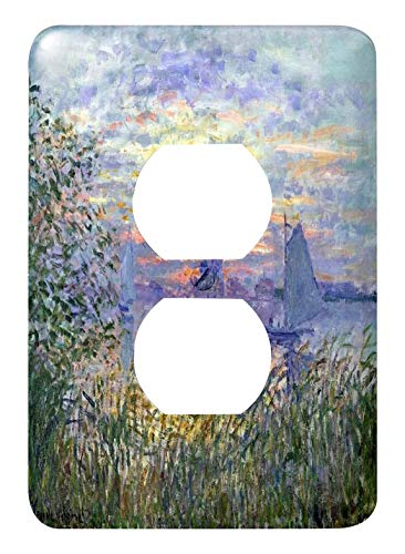 Duplex Receptacle Outlet Wallplate 1 Gang Outlet Covers Print Of Monet Painting Sunset On The Seine Classic Beadboard Wall Plate Decorator Unbreakable Faceplate