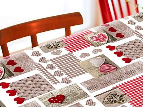 Mantel de Hule Elna Rojo con Motivos de Corazones y Piezas artesanales. Colores Rojo y marrón. (140_x_100_cm)
