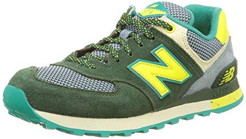 New Balance Damen Wl574Bfl Sneaker, grün/gelb/grau, 38 EU
