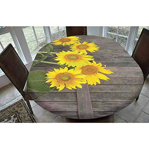 Sunflower Decor Polyester Fitted Tablecloth,Helianthus Sunflowers Against Weathered Aged Fence Summer Garden Photo Print Oblong Elastic Edge Fitted Table Cover,Fits Oval Tables 68x48 Brown Yellow Gre