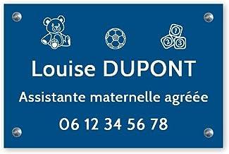 Personaliseerbaar bord voor kleuterschoolassistent, personaliseerbaar, 30 x 20 cm, blauwe letters, schroeven + pluggen + s...