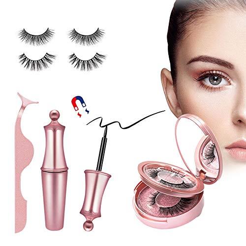 Magnetische Wimpern Magnetic Eyeliner, Natürlich Wasserdicht Falsche Magnetic Eyelashes Set,...