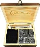 Whiskey Stones - Premium Set of 9 Granite Natural Chilling Rocks for Cool