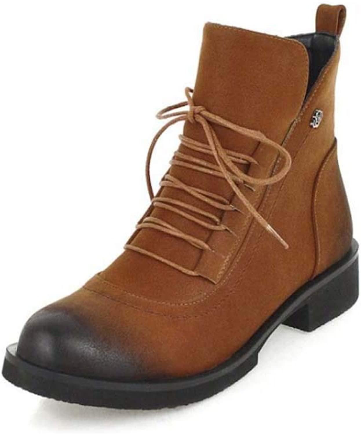 Martin Boots Leather Waterproof Classic Lace Short Ankle Boot Ladies Casual Comfortable Low shoes Classic Chelsea Ankle Boots,Brown,44EU