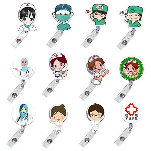 Elibeauty 12-teiliges Set mit süßem Cartoon-Design für Krankenschwestern, Ärzte, Ausweise, Namensschilder multi