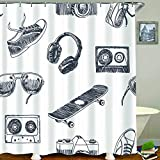 HUAYEXI Duschvorhang 180x180cm,Skateboard, Sonnenbrille, Kopfhörer, Kassette, Turnschuhe & Fotokamera,Duschvorhang Wasserabweisend-Duschvorhangringen 12 Shower Curtain mit
