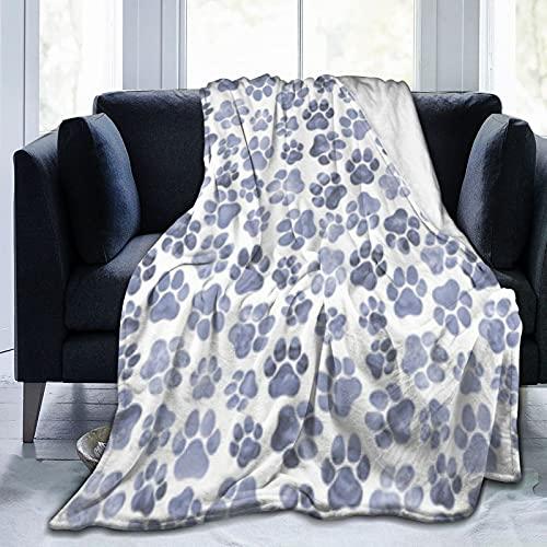 Manta de microfibra monocromática de Pawprints para sofá duradero, decoración del hogar, perfecta para cama y sofá mantas para todas las estaciones de 50 x 40 pulgadas