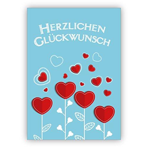Prachtige felicitatie voor een verjaardag, geboorte, examen met hart bloemen: hartje felicitatie 10 Grußkarten