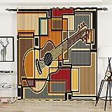 Cortinas Opacas - Instrumento musical de guitarra vintage - W168X183cmX2 panel - Opaca Cortina de ojales Sombreado para Sala de Estar Dormitorio Cocina para niños Hogar Dormitorio Salón
