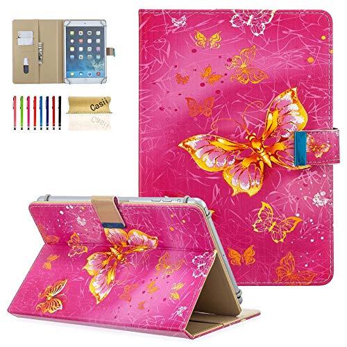 Casii Tablet-Schutzhülle für 8 Zoll (20,3 cm), ultradünn, mit Kartenhalter, iPad Mini 1 2 3 4 5, Galaxy Tab A 8.0 E 8.0, mazon F ire HD & weitere Tablets 7,5 - 8,5 (19,1 21,6 Rosa Schmetterlinge
