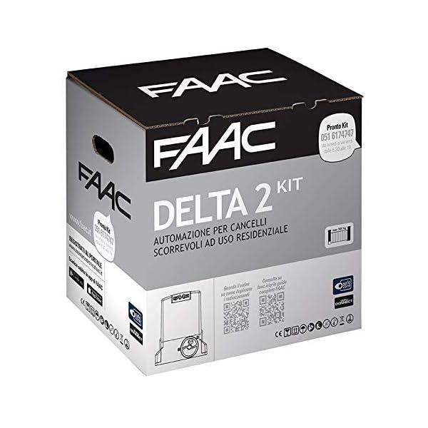 FAAC-DELTA-2-KIT-AUTOMAZIONE-para-puertas-correderas-ad-uso-residenziale-con-peso-max-500-kg-con-luz-estroboscpica-230-V-Motor-Encoder-incluida-y-par-de-fotoclulas-XP-1056303445