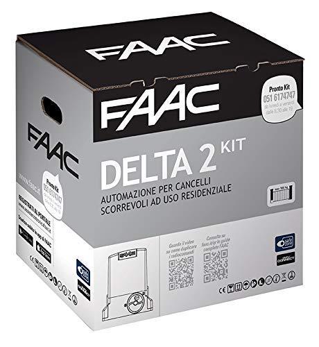 Faac Delta 2 - Kit de automatización para puertas correderas de uso Residencial con peso máx. 500 kg con intermitente de 230 V, motor codificador incluido y par de fotocélulas XP 1056303445
