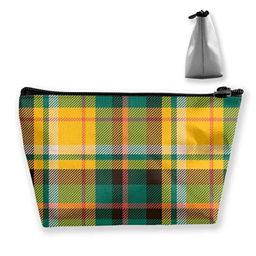 Multi-Functional Print Trapezoidal Storage Bag for Female Tartan Scotland Seamless Plaid Pattern
