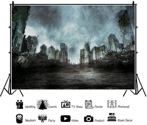 DaShan 12x8ft The End World Backdrop Destroyed City Ruins Photography Background Collapsed Buildings Halloween Party Disaster Theme Party Decor Kids Adult Portrait Photo Shoot Studio Props