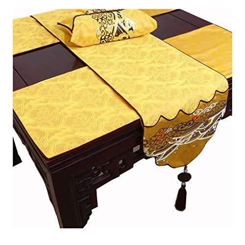 Chemin de table LITING Nappe de, Jade Chinois, Table Basse Pastorale, Noble, Auspicious, Harmony (Color : Yellow, Size : 34 * 230cm)