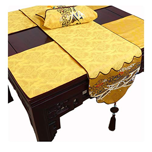 Chemin de table LITING Nappe de, Jade Chinois, Table Basse Pastorale, Noble, Auspicious, Harmony (Color : Yellow, Size : 34 * 230cm)