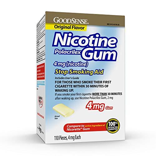 GoodSense Nicotine Polacrilex Uncoated Gum 4 mg (Nicotine), Original Flavor, Stop Smoking Aid; Quit Smoking with Nicotine Gum, 110 Count