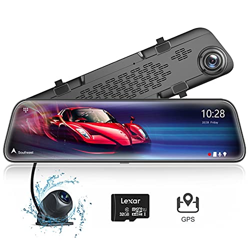 WOLFBOX 12' 2.5K Mirror Dash Cam with Full Touch Screen, Front and Rear Dual Dash Camera for Cars, Waterproof Backup Camera Rear View Mirror Camera, Sony Sensor, Night Vision, Parking Assistance, GPS
