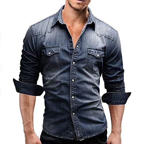 Camisa de Hombre Camisa de Mezclilla de Manga Larga Simple Retro Europea y Americana Camisa de Mezclilla Informal de Color slido de Moda de Gran tamao con Solapa 3XL