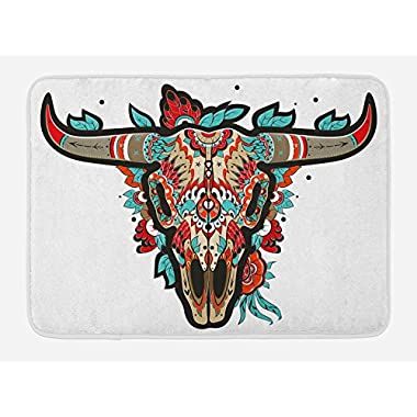 Lunarable Western Bath Mat by, Buffalo Sugar Mexican Skull Colorful Ornate Design Horned Animal Trophy, Plush Bathroom Decor Mat with Non Slip Backing, 29.5 W X 17.5 W Inches, Turquoise Red Taupe