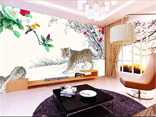 XZCWWH 3D Wallpaper Photo Wallpaper Custom Mural Living Room Tiger Flower And Bird 3D Painting Sofa Tv Background Wall Sticker Murals,300Cm(W)×210Cm(H)
