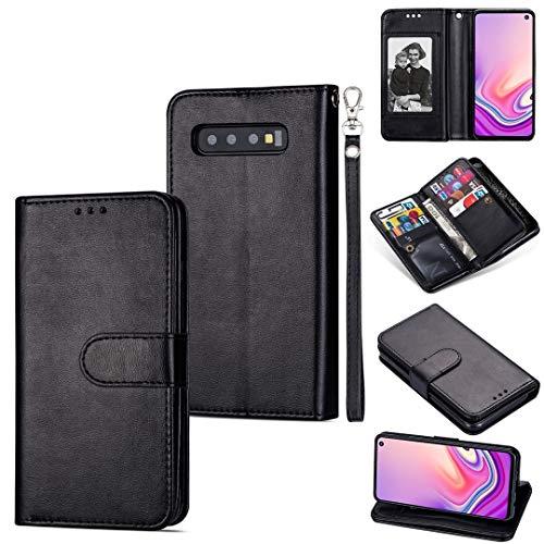 MKOKO Durable para Samsung Galaxy S10 Tarjeta Ultra-Thin 9 Funda de Cuero Horizontal, con Ranuras y Soporte para Tarjeta y cordón (Color : Black)