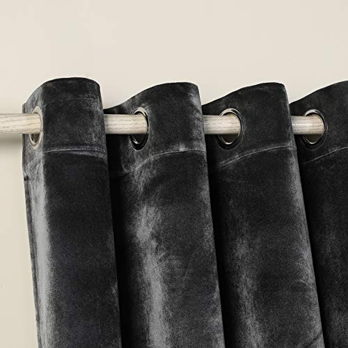 PimpamTex – Blickdichter Vorhang Wärmedämmender Samt Touch, 260x140 cm, mit 8 Ösen für Wohnzimmer, Schlafzimmer und Räume, blickdichte Vorhänge Modell Samt (Dunkelgrau)