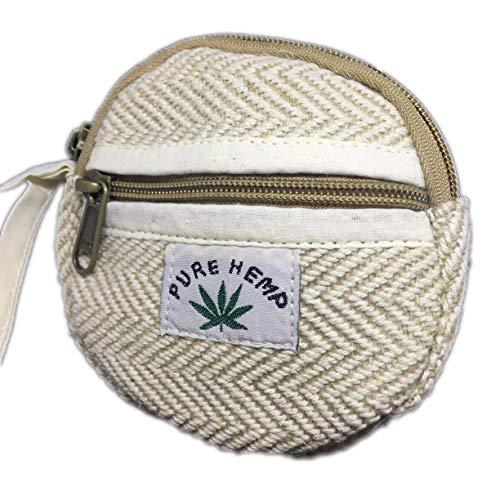 Handgefertigtes Portemonnaie aus 100% Hanf, umweltfreundlich und gerade, runde Form, 2 Fächer mit Reißverschluss. Beige Natur